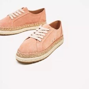 Zara size 37 taupe espadrille lace ups shoes